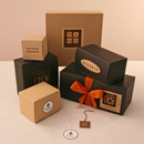 Oatmeal and Black Kraft Giftware Boxes